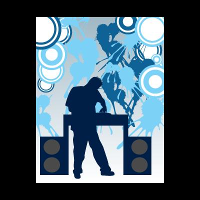 Disc jockey vector logo