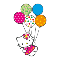 Hello Kitty con globitos vector
