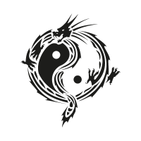 Yin yang dragon vector